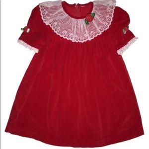 Girl's Red Velvet Christmas Dress  size 2-3T